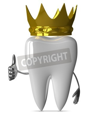 Naklejka White tooth character with golden crown giving thumb up isolated on white background