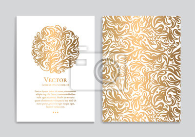 Naklejka White vector greeting card with golden luxury ornament template. Great for invitation, flyer, menu, brochure, postcard, background, wallpaper, decoration, packaging or any desired idea.