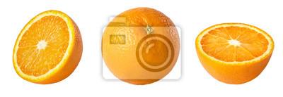 Naklejka Whole and sliced orange isolated on white background. Collection.