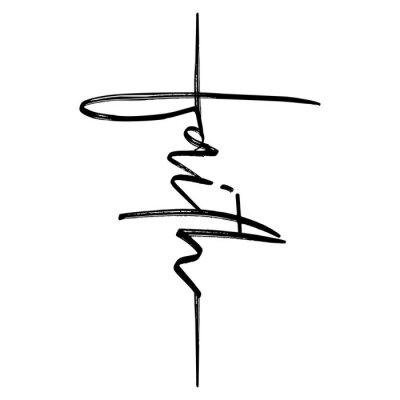 Naklejka Wiara - odręczny Wektor kaligrafia napis tekst w kształcie krzyża. Chrześcijaństwo cytuje projekt. Plakat typografii. Tatuaż.