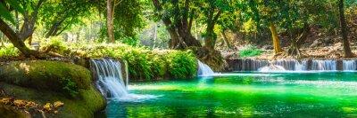 Naklejka Wide panorama beautiful fresh green nature scenic landscape waterfall in deep tropical jungle rain forest, Famous landmark outdoor travel Saraburi Thailand, Spring background, Tourism destination Asia