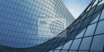 Naklejka Widok chmur odzwierciedlenie w biurowcu szkła krzywej. 3d rendering