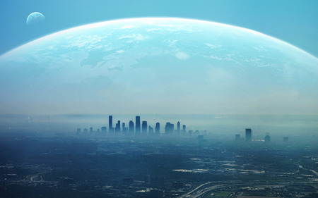 Naklejka Widok futurystycznego miasta.