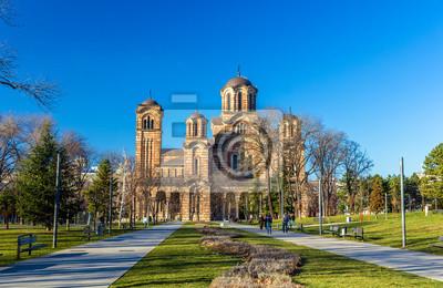 Naklejka Widok kościoła od św Marka w Belgradzie Park Tasmajdan - Serbia