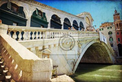 Widok na Canal Grande w Wenecji, Most Rialto