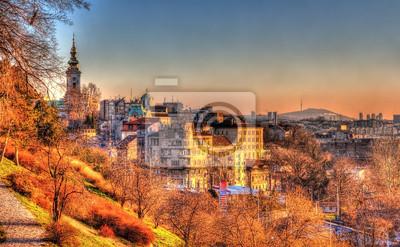Naklejka Widok na centrum miasta Belgrad - Serbia