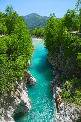 Naklejka Widok na rzece Soca (Isonzo) koło Kobarid (Caporetto), Słowenia