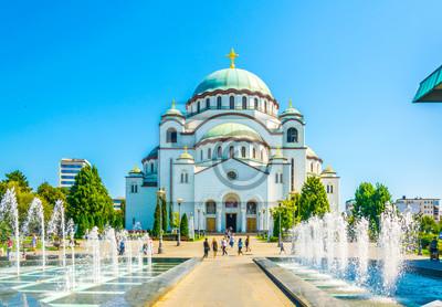 Naklejka Widok świętego sava katedra w Belgrade, Serbia
