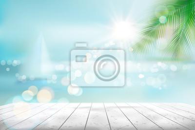 Naklejka Widok tropikalna plaża z żaglówką. Ilustracja wektorowa.