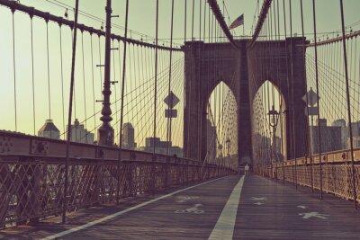 Naklejka Widok wzdłuż chodnika dla pieszych, Brooklyn Bridge