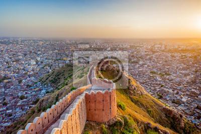 Naklejka Widok z lotu ptaka Jaipur Nahargarh o zachodzie słońca