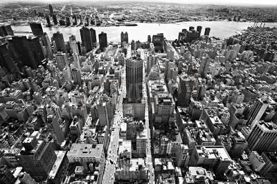 Naklejka Widok z lotu ptaka na Manhattanie w Nowym Jorku