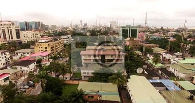 Naklejka Widok z lotu ptaka nad Lagos, Nigeria