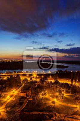 Widok z twierdzy w nocy Belgrad, Belgrad Serbia