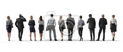 Naklejka Widok z tyłu stojących ludzi biznesu. Ilustracja na białym tle, 3d rendering odizolowywający.