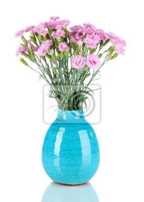 96737df600049 Naklejka Wiele małych różowe goździki w wazonie niebieski samodzielnie na białym  tle