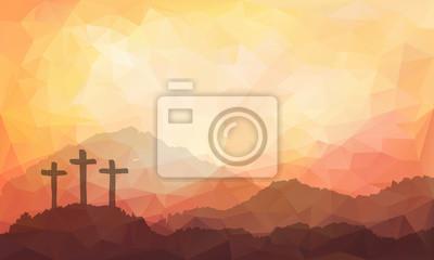 Naklejka Wielkanoc sceny z krzyżem. Jezus Chrystus. Akwarele ilustracji wektorowych
