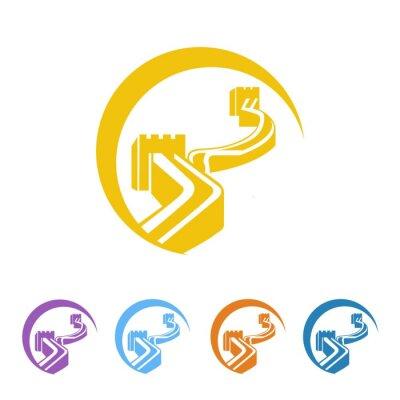 Naklejka Wielki Mur logo wektor ikona