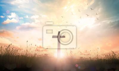 Naklejka Wielkiego Piątku pojęcie: Krzyż na łąkowym wschodu słońca tle