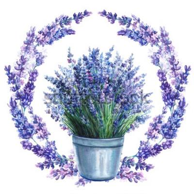 Naklejka Wieniec z kwiatów, lawendy w wiadrze, rysunek akwarela, ilustracja