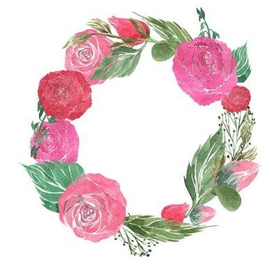 Naklejka Wieniec złożony z róż, piwonie, pąki, liście, płatki, ręcznie