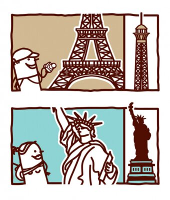 Naklejka Wieża Eiffla i Statua Wolności