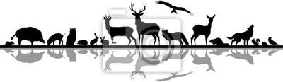Naklejka Wild Animals Forest Landscape Vector Silhouette