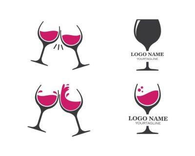 Naklejka wine glasses toasting logo icon vector