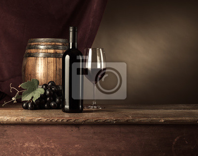Wine tasting in the cellar with glass