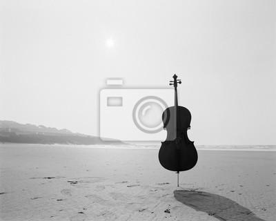 Naklejka Wiolonczela Na plaży