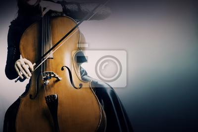 Naklejka Wiolonczela orkiestra instrumenty muzyczne, wiolonczelista