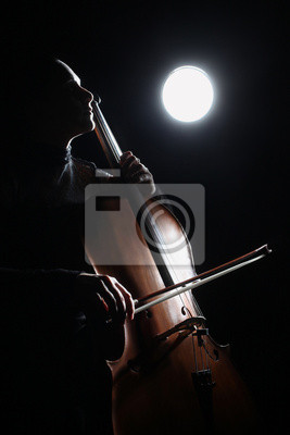 Naklejka Wiolonczela wiolonczelista klasyczny odtwarzacz muzyki