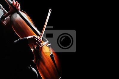 Naklejka Wiolonczela. Wiolonczelista ręce gra na wiolonczeli
