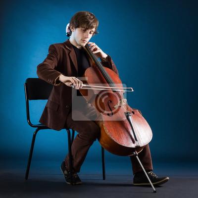 Naklejka Wiolonczelista odtwarzanie muzyki klasycznej na wiolonczelę