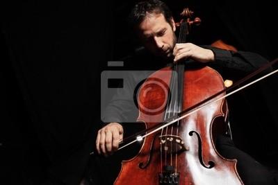 Naklejka Wiolonczelista odtwarzanie muzyki klasycznej wiolonczeli na czarnym tle