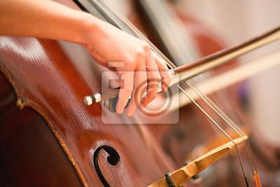 Naklejka Wiolonczelista występujący w orkiestrze symfonicznej