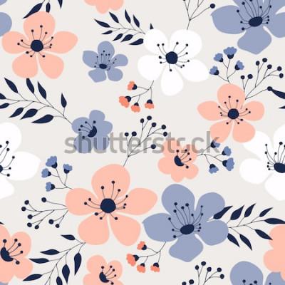 Naklejka Wiosenne kwiaty bez szwu wzór Mały kwiatowy wzór kwiatowy ilustracja i kwiatowy wzór kwiatowy wzór tkaniny