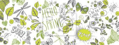 Naklejka Wiosna doodles tło
