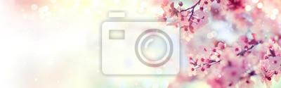 Naklejka Wiosna granicy lub tła sztuki z różowy kwiat. Piękna przyroda sceny z kwitnące drzewa i flary słońca