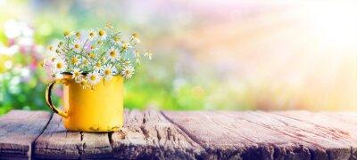 Naklejka Wiosna - kwiaty rumianku w szklance wody na drewnianym stole w ogrodzie
