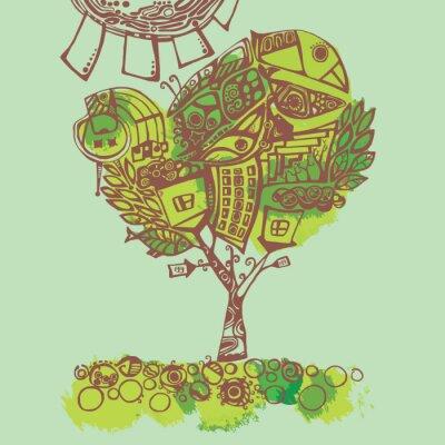 Naklejka Wiosna, stylizowane ilustracji.
