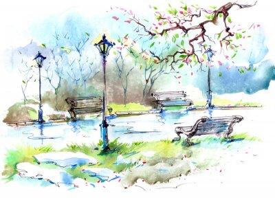 Naklejka Wiosna w mieście