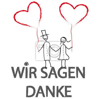 Naklejka Wir Sagen Danke! Hochzeitspaar mit Herzluftballons