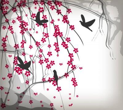 Naklejka Wiśniowe drzewo z ptakami ciernie