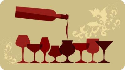 Naklejka wlać wina do kieliszków