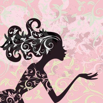 Naklejka Włosy dziewczyny ornament Glamour