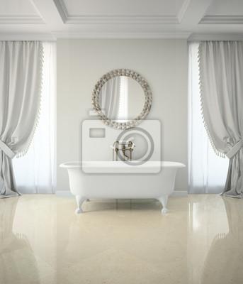 Wnętrze łazienki Z Zasłony Klasyczne Lustro 3d Rende Okrągłe Naklejki Redro