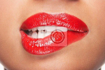 Naklejka Woman Biting Red Lips