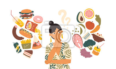 Naklejka Woman choosing between healthy and unhealthy food concept flat vector illustration. Fastfood vs balanced menu comparison isolated clipart. Female cartoon character dieting and healthy eating.