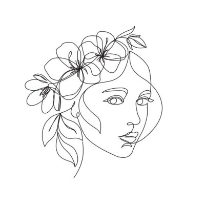 Naklejka Woman face with flowers one line drawing. Continuous line drawing art. Flower bouquet in woman head single line art. Vector line illustration. Nature cosmetics. Minimalist Black White Drawing Artwork